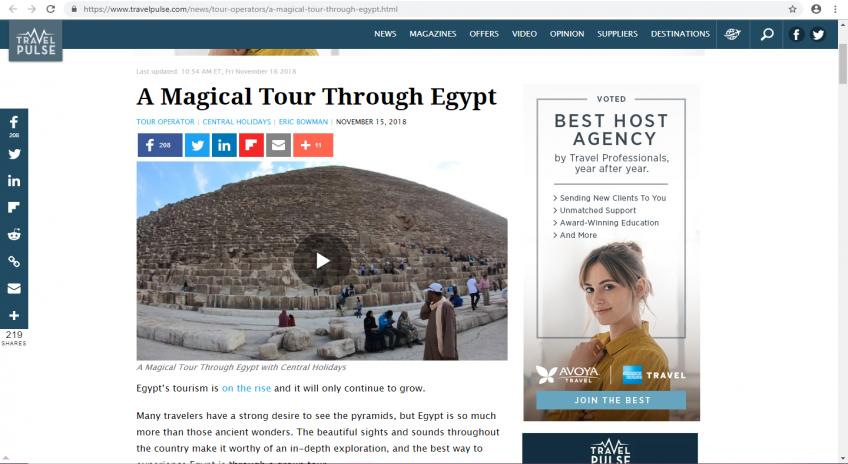 موقع pulse  Travel الأمريكى يدعو القراء الي زيارة مصر